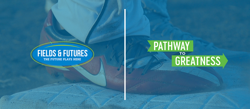 Fields & Futures logo and Oklahoma City Public Schools Pathway to Greatness logo on an image of an OKCPS softball player's cleat