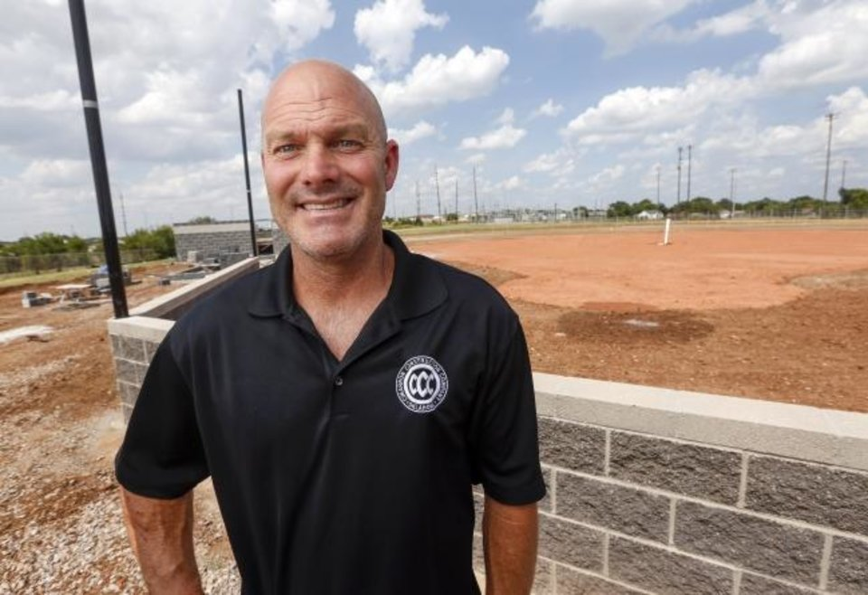 Tommy Noble, co-owner of Cimarron Construction, standing in front of an OKCPS Pathway to Greatness field construction project he is overseeing for Fields & Futures. Photo Credit: Nate Billings/The Oklahoman