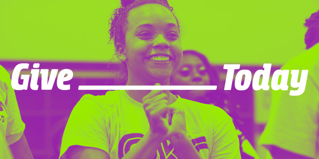 Fields & Futures Give Today graphic featuring a smiling Oklahoma City Public Schools cheerleader