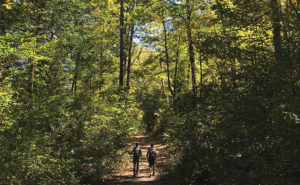 Oklahoma is home to huge hiking networks. Here, a duo hikes through a trail in Oklahoma.