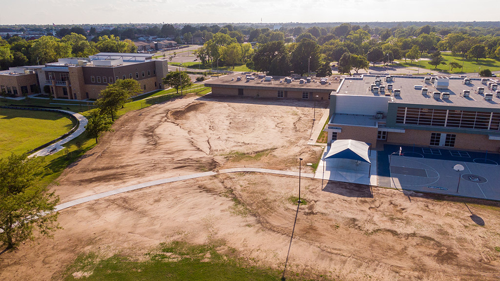 OKCPS Southeast Middle School during early field construction by Fields & Futures