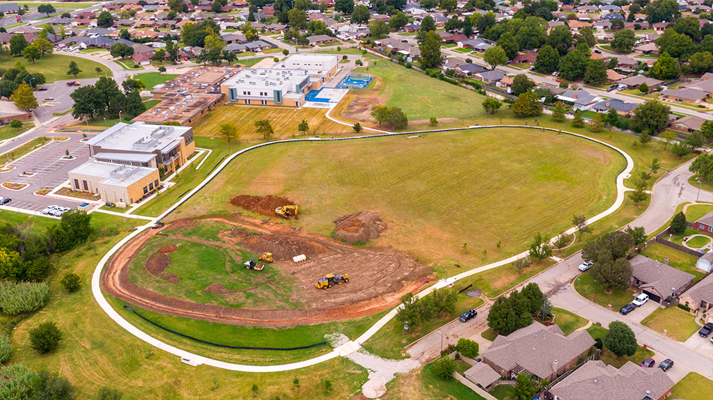 The beginning stages of construction by Fields & Futures at Southern Oaks Park by Southeast Middle School