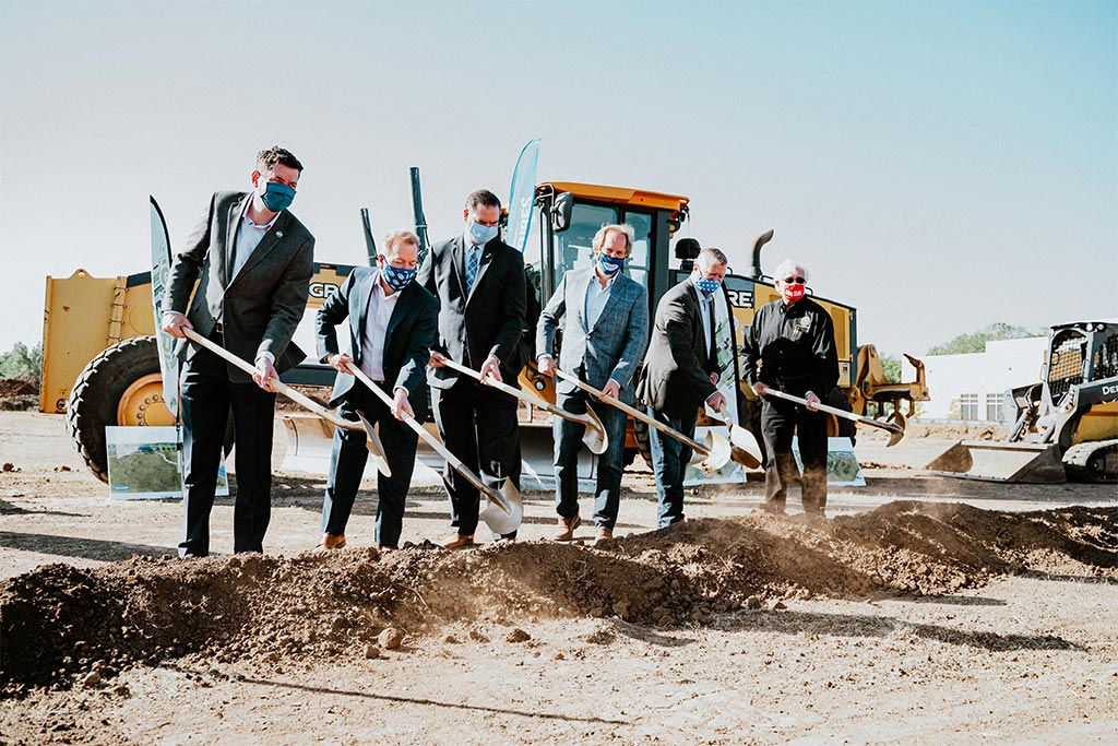 Oklahoma City community leaders including Mayor David Holt and Tim McLaughlin breaking ground on the Fields & Futures, OKC Parks, and OKCPS athletic complex construction project at Southern Oaks Park.