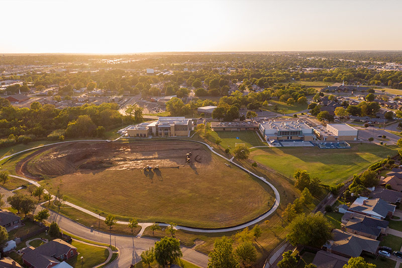 Aerial photo of Southern Oaks Park sports complex construction adjacent to the newly renovated athletic fields at Southeast Middle School