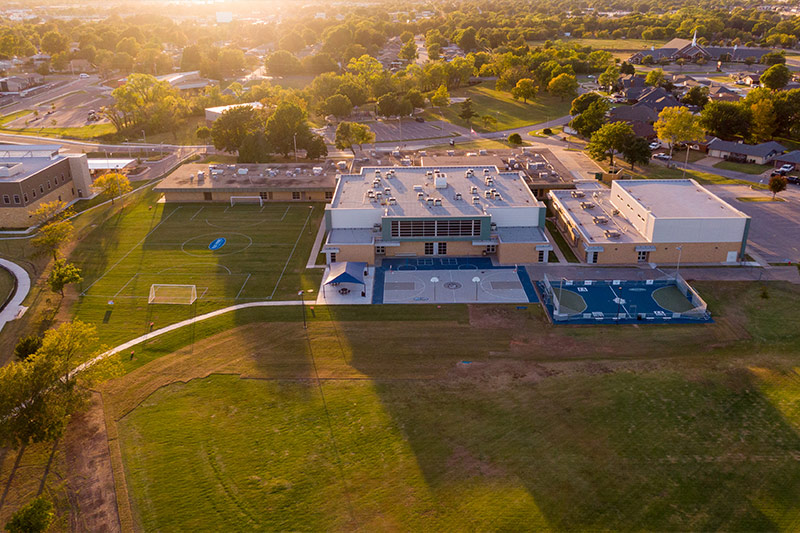 Drone photo of Southeast Middle School's new athletic field and sports courts