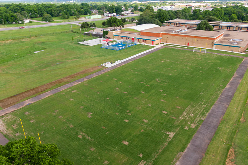 The new track at FD Moon Middle School in Oklahoma City Public Schools