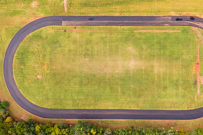 The new track at Classen SAS High School at Northeast in Oklahoma City Public Schools