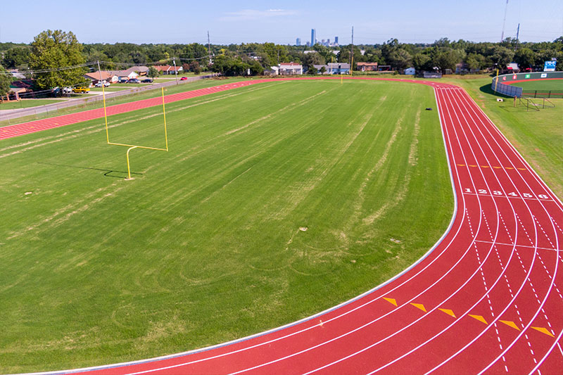 The new track at Southeast High School in Oklahoma City Public Schools
