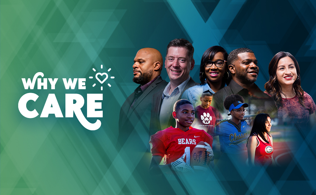 Why We Care campaign announcement graphic with Sam Mayes, David Holt, Ayan Talley, Duce Talley, Brenda Hernandez, and OKCPS student-athletes