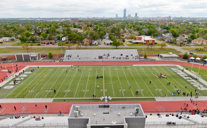 Fields & Futures All-City Track Meet Blog aerial photo of the All-City Track Meet at Speegle Stadium