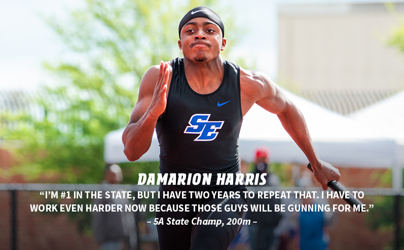 Fields & Futures Track & Field State Champions blog post story image of 5A 200m state champ DaMarion Harris from Southeast High School