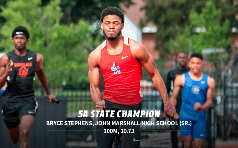 Fields & Futures Track & Field State Champions blog post story image of 5A 100m state champ Bryce Stephens from John Marshall High School
