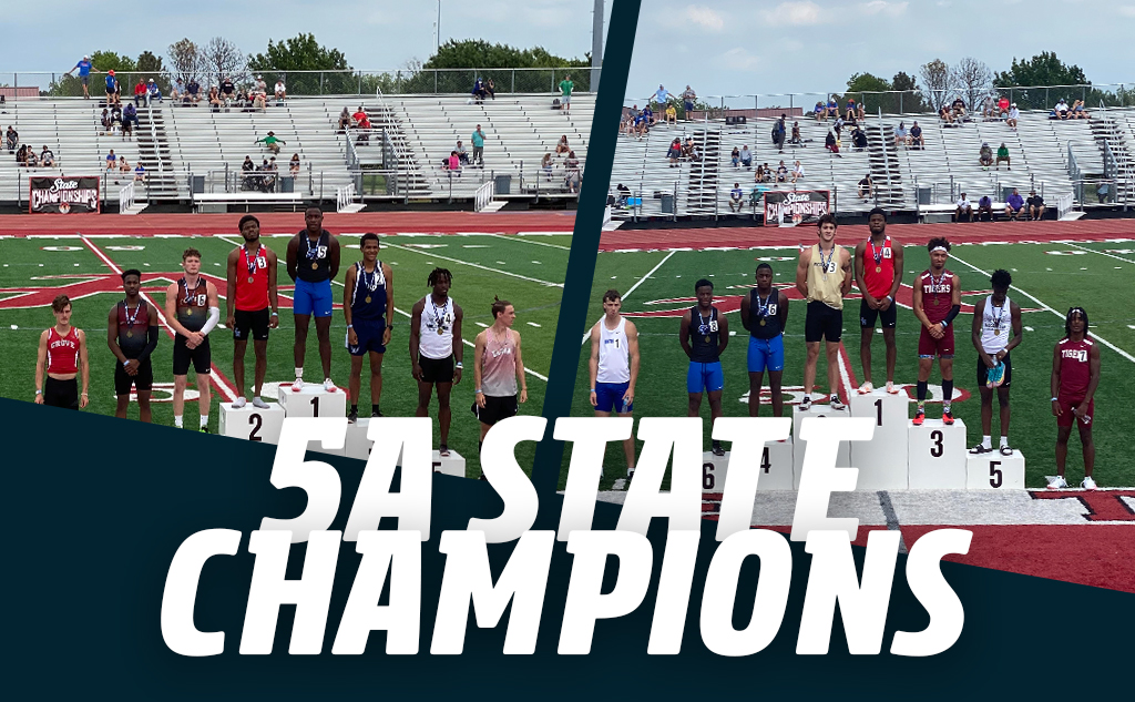 Fields & Futures Track & Field State Champions blog post feature image of Bryce Stephens and DaMarian Harris receiving their medals at the Oklahoma 5A State Track Championship