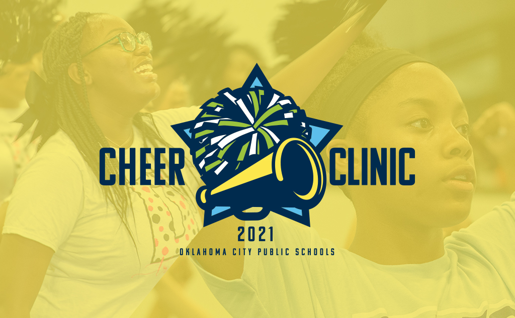 Fields & Futures 2021 OKCPS Cheer Clinic Sponsorship blog post feature image of the OKCPS cheer clinic artwork