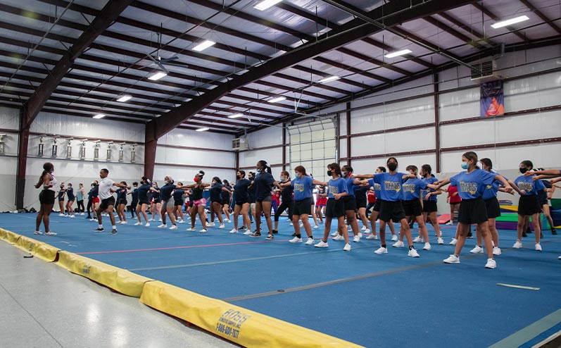 Fields & Futures blog 2021 OKCPS Cheer Clinic Wrap-Up story image of cheer clinic participants practicing a dance routine
