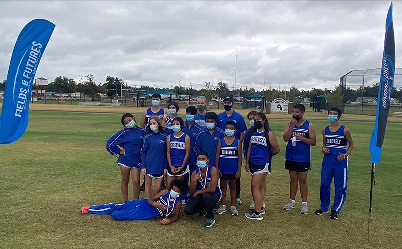 Fields & Futures Simon Greiner Track & Field Program Coach's Interview with John Zehr blog post story image of the Roosevelt Middle School cross country team following the All-City Athletic Conference Cross Country Championship Meet.